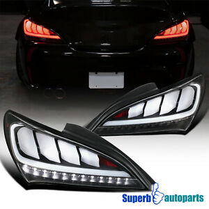 For 2010 2016 Hyundai Genesis 2dr Coupe Black Sequential Led Tail Lights Pair