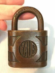 Vintage Antique Yale Towne Brass Padlock Lock 3 X 2 Made In Usa
