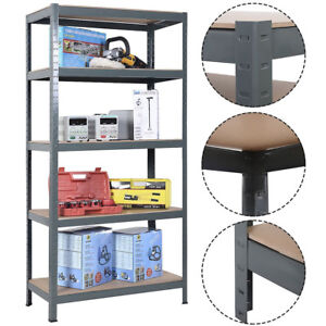 Industrial 5 Tier Steel Heavy Duty Racking Shelves Storage Unit Garage Grey