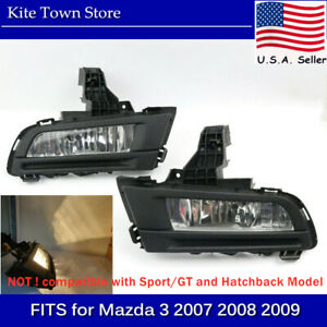 Pair Of 9006 55w 3000k Front Driving Fog Light Lamp For Mazda 3 2007 2008 2009