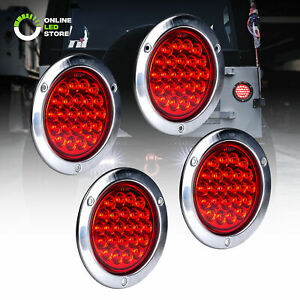4pc 4 Red Round 24 Led Trailer Tail Lights Stainless Steel Bezel Brake