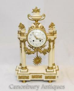 French Empire Marble Mantle Clock Ormolu Fixtures Classical