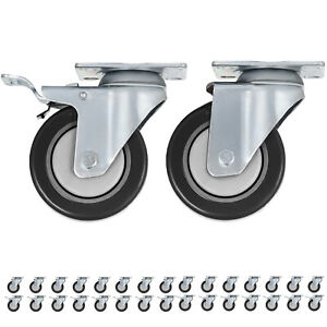 Swivel Plate Casters 32 Pack 4 Inch W 16 Brakes Durable Polyurethane Wheels