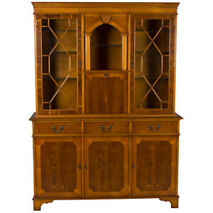 Vintage Antique Style Yew Breakfront Bookcase China Cabinet Display W Secretaire