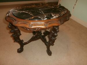 Antique Ornate Carved Wood Wooden Marble Top Stand Table Oriental