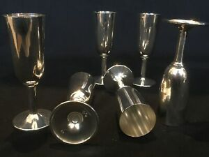 Vintage Sterling Silver Shot Glasses By Fisher 6 9 Ozt Total Weight 4 Tall