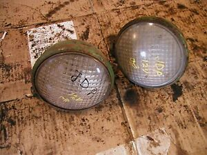John Deere A Tractor Pair Of Working Jd Front 12v Head Lights Nuts