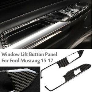 Carbon Fiber Interior Window Switch Panel Frame Cover For Ford Mustang 2015 2017