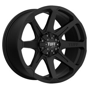 4 New 22 Inch Tuff T 05 22x10 8x165 1 8x6 5 20mm Flat Black Wheels Rims