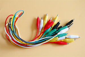 10pcs Test Leads Wire Jumper Cable Double ended Crocodile Alligator Clips