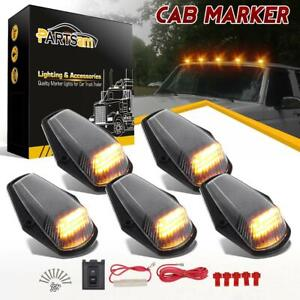 5pcs Clear Yellow Led Cab Marker Roof Clearance Lights For Ford 1980 1997 W Wire