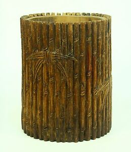 Antique Bamboo Chinese Calligraphy Brush Pot Carved Wood
