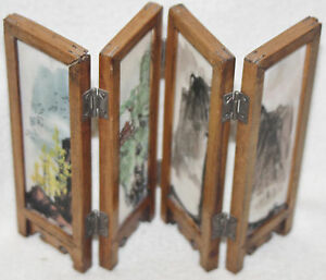 Chinese 1920s Hand Painted Glass Panels Landscape Fish Miniature Table Screen