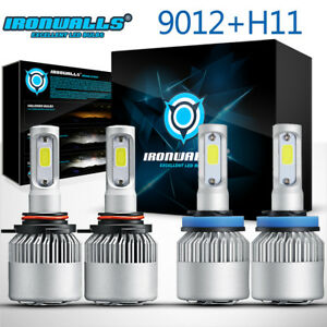 4x Combo 9012 Cob Led Headlight H11 Fog Light Bulbs For Gmc Acadia 2013 2017