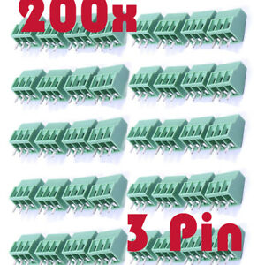 200pc Green 3 Pin 2 54mm Pitch Pcb Mount Screw Terminal Block Connector