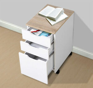 Homcom 18 d 3 drawer Vertical Rolling Mobile Office Storage File Cabinet White