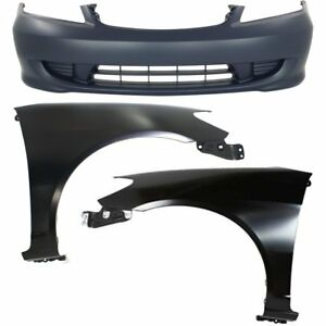 Bumper Cover Kit For 2004 2005 Honda Civic Front With Fender Capa
