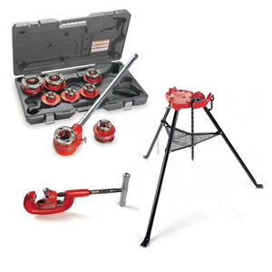 Ridgid 36475 Manual Ratchet Threaders W 36273 Tristand Vise 32820 Pipe Cutter