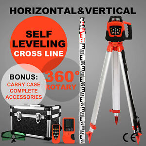 Green Rotary Laser Level 1 65m Tripod 5m Staff Self leveling W case Building