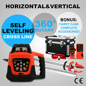Rotary Red Laser Level Tripod 5m Staff Cross Line Self Leveling Construction