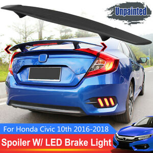 Led R Style Fc Spoiler Rear Trunk Wing Brake Light For Honda Civic 10th 2016 18