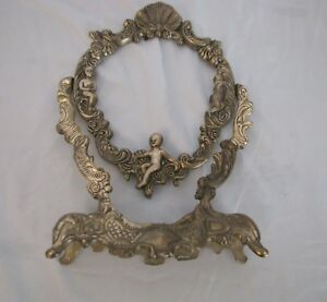 Cast Metal W Cherub Angel Vintage Mirror Picture Photo Frame Stand