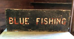 1950 S Antique Blue Fishing Wood Sign Vintage Cape Cod Massachusetts Charter