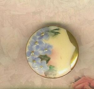 Hand Painted Victorian Porcelain Forget Me Nots Stud Button