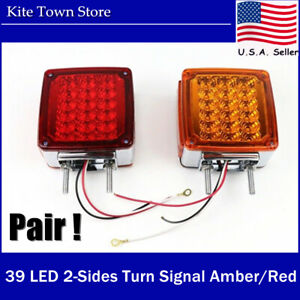 New Pair 45led Double Side Turn Signal Amber red r h Semi Truck Fender Light