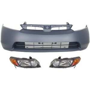 Bumper Kit For 2006 2008 Honda Civic Front 4 door Sedan With Headlight 3pc
