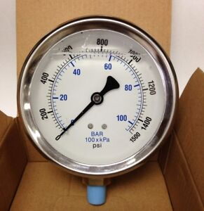 Nitrous Pressure Gauge High Accuracy Liquid Filled 4 Dial 0 1500 Psi