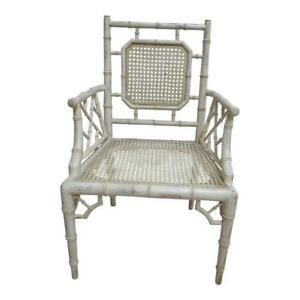 Vintage French Regency Faux Bamboo Cane Lounge Arm Chair