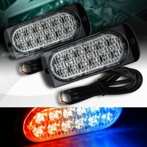 24 Led Red blue Car Emergency Beacon Hazard Warning Flash Strobe Light Universal