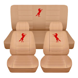 Fits 1999 2004 Ford Mustang Convertible Front Rear Tan Seat Covers Red Mustang