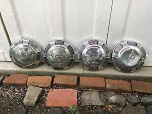 4 Vintage Chevrolet Chevy Dog Dish Center Hubcaps