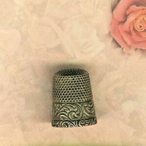 Sterling Silver Thimble W Fancy Engraved Band