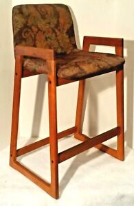 4 Mid Century Modern Danish Teak Counter Table Stools Or Chairs Upholstered