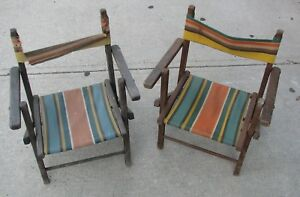 2 Vintage 40s 50s Striped Canvas Wood Frame Children S Folding Deck Chairs