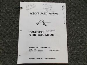Bradco 9hd Backhoe Attachment Skid Steer Loader Parts Catalog Manual 89hez1280