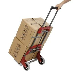 165 Lbs Red Capacity Aluminum Folding Dolly Hand Truck Bungee Cord