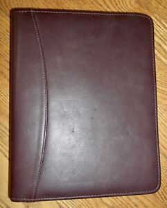 Franklin Quest Covey Classic Zipper Binder Nappa Leather 7 ring Gold 1 5