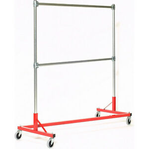 Z rack Laundry Room Clothes Rack 60 L X 72 Uprights Double Rail Red 260722r