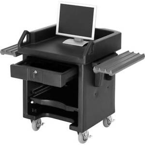 Cambro Cash Register Stand Cart With Casters Dual Rails Black Vcswr 110