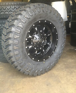 18 Fuel Krank Black Wheels 35 Mt Tires Package 6 Lug Chevy Gmc Ford F150 6x5 5