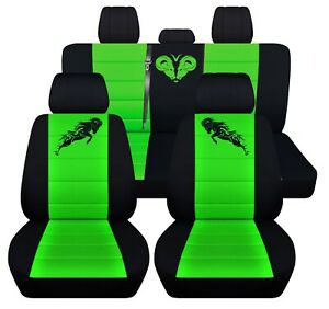 Fits 2006 Dodge Ram Front And 40 60 Rear Black And Lime Green Seat Covers