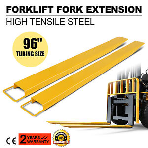 96x5 5 Forklift Pallet Fork Extensions Pair Retaining Lengthen Steel Construct