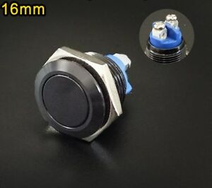 Black 16mm Momentary Push Button Starter Switch Stainless Steel Metal Waterproof