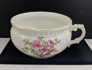 Antique P Co Chamber Pot Bristol Semi Porcelain Flowers White Gold England
