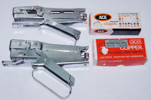 Lot Of 2 Vintage Ace Clipper Heavy Duty Plier Staplers Boxes Of Staples