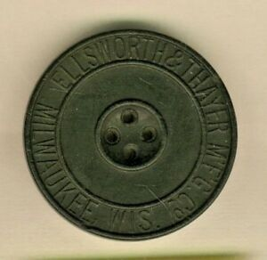 Large Hard Rubber Ellsworth Thayer M F G Co Button